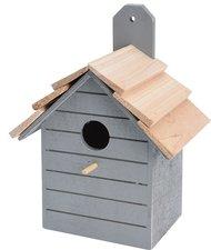 Vogelhuisje hout deco grijs