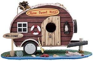 Nestkastje caravan Home sweet Home bruin