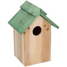 Houten vogelhuisje met groen dak