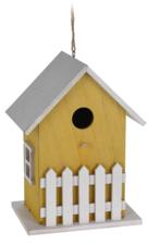 Vogelhuisje naturel met wit hekje