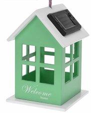 Vogelhuisje met solar verlichting groen
