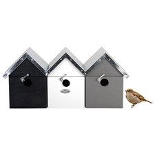 Vogelhuis mussenvilla zwart-wit-grijs
