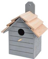 Houten vogelhuisje grijs