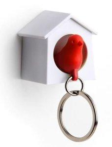 Qualy MINI sleutelkastje vogelhuisje wit/rood