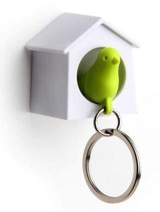 Qualy MINI sleutelkastje vogelhuisje wit/groen