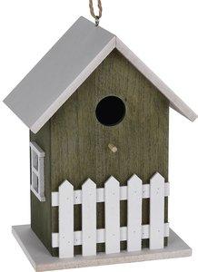 vogelhuisje met hekje groen