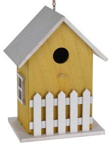 vogelhuisje geel met hekje
