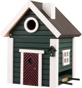 groen houten vogelhuis voederhuis