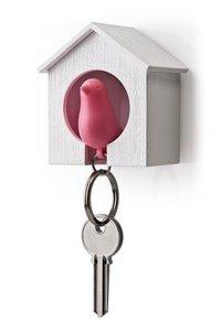 Qualy sleutelkastje vogelhuisje roze/wit